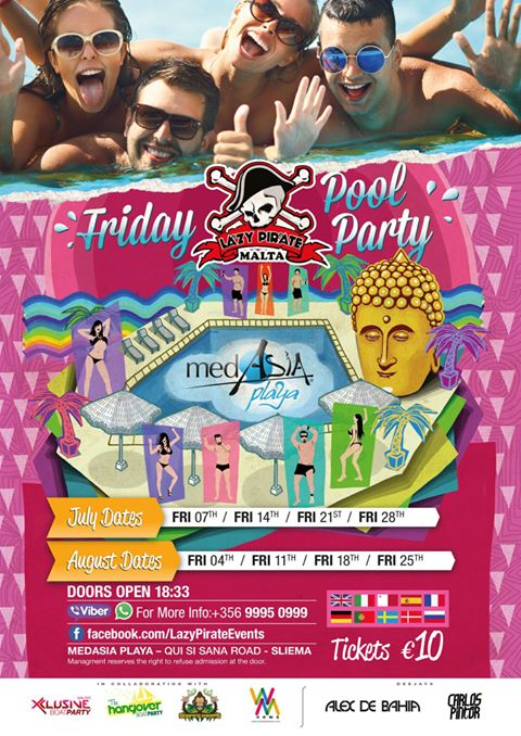 Lazy Pirate Pool Party at MedAsia Playa 2017 flyer