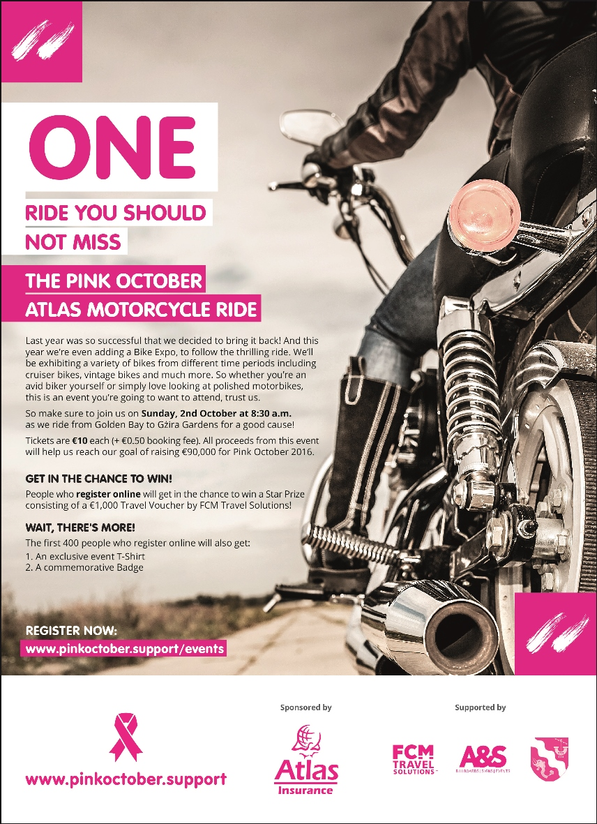 The Pink October Atlas Motorcycle Ride 2016 flyer