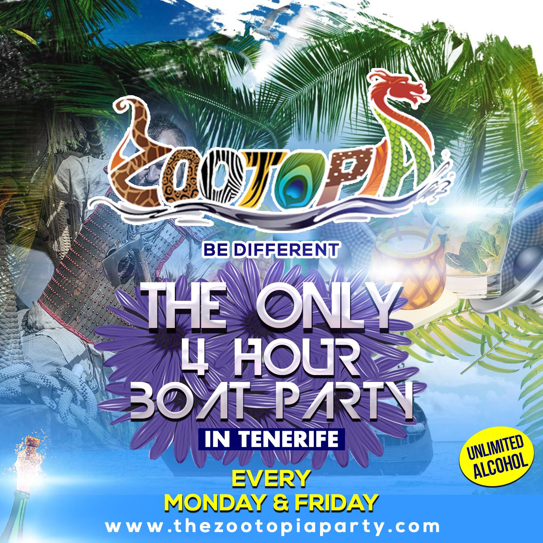Zootopia Tenerife Boat Party flyer