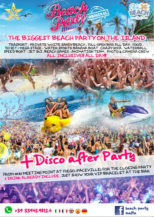 Beach Party Malta flyer