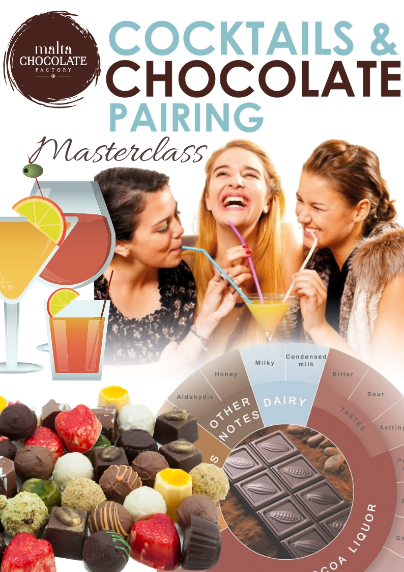 Cocktails and Chocolate Pairing flyer