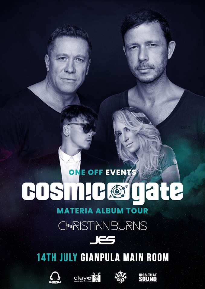 oneoff / Gianpula / Cosmic Gate / Jes / Burns flyer
