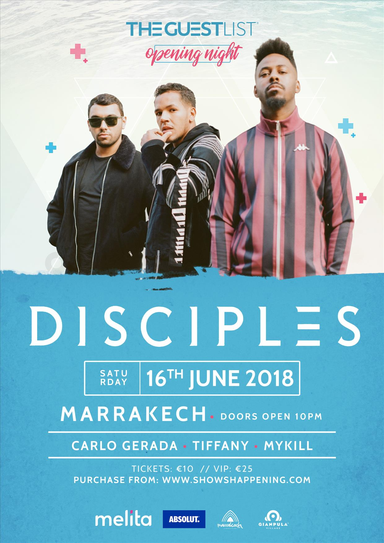 The Guestlist Opening featuring DISCIPLES 16:06:18 Marrakech Club flyer