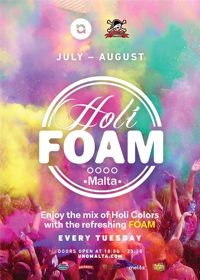 Holi Foam Party at Uno Malta 2017 flyer