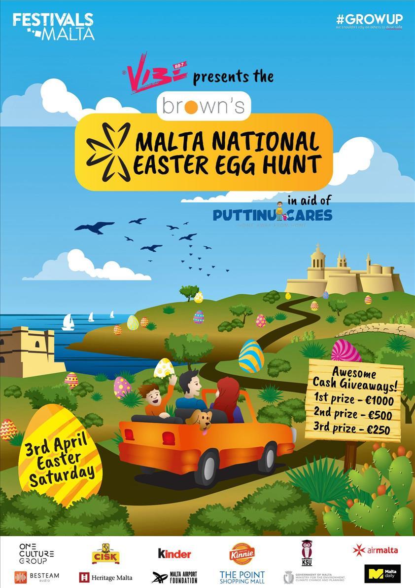 Vibe Fm presents The Brown's Pharma Malta National Easter Egg Hunt poster