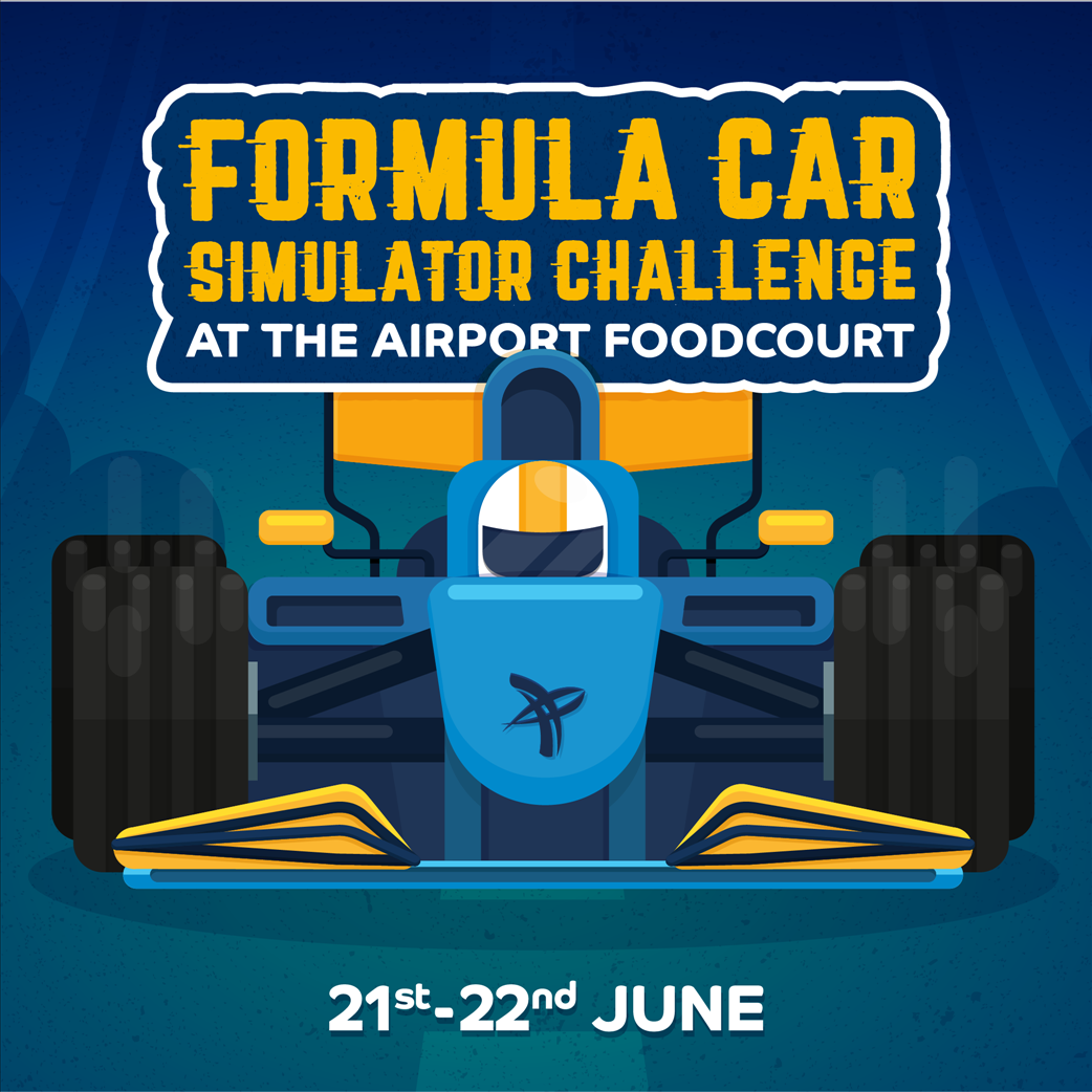 Formula Car Simulator Challenge at the Airport Food Court flyer