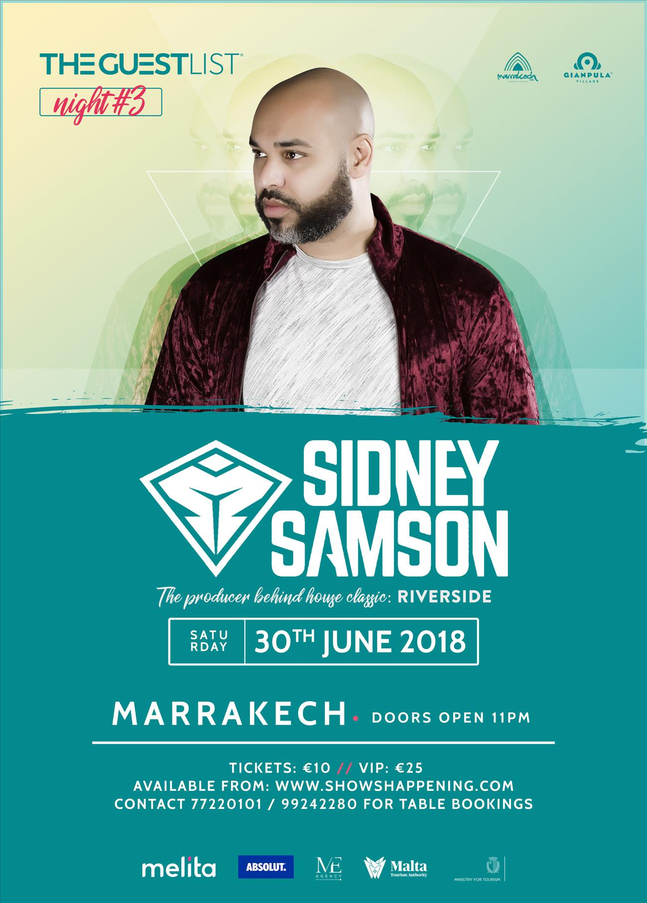 The GuestList Presents SIDNEY SAMSON (30/6/18) flyer