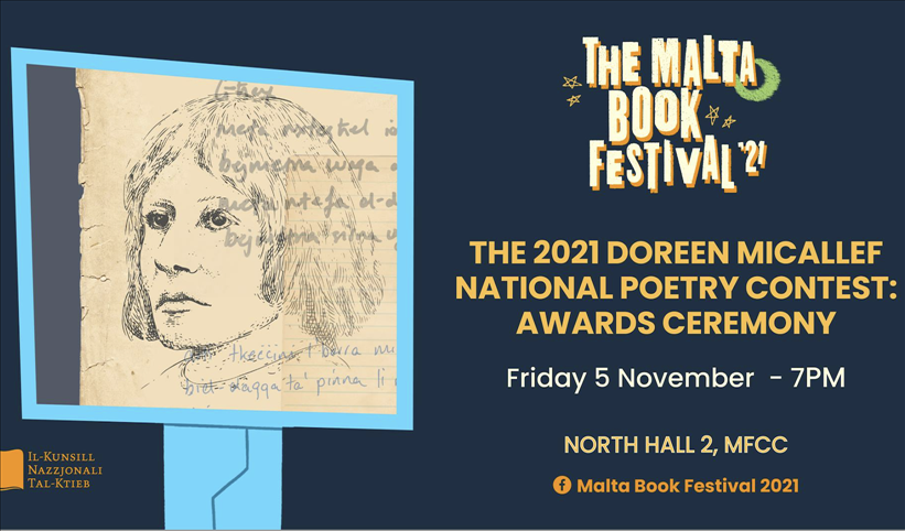 The Malta Book Festival 2021: The 2021 Doreen Micallef National Poetry Contest: Awards Ceremony poster