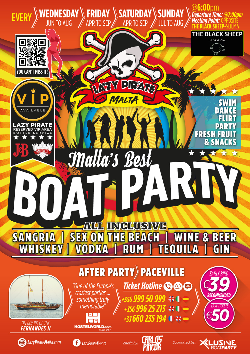 Lazy Pirate Boat Party Malta 2019 flyer
