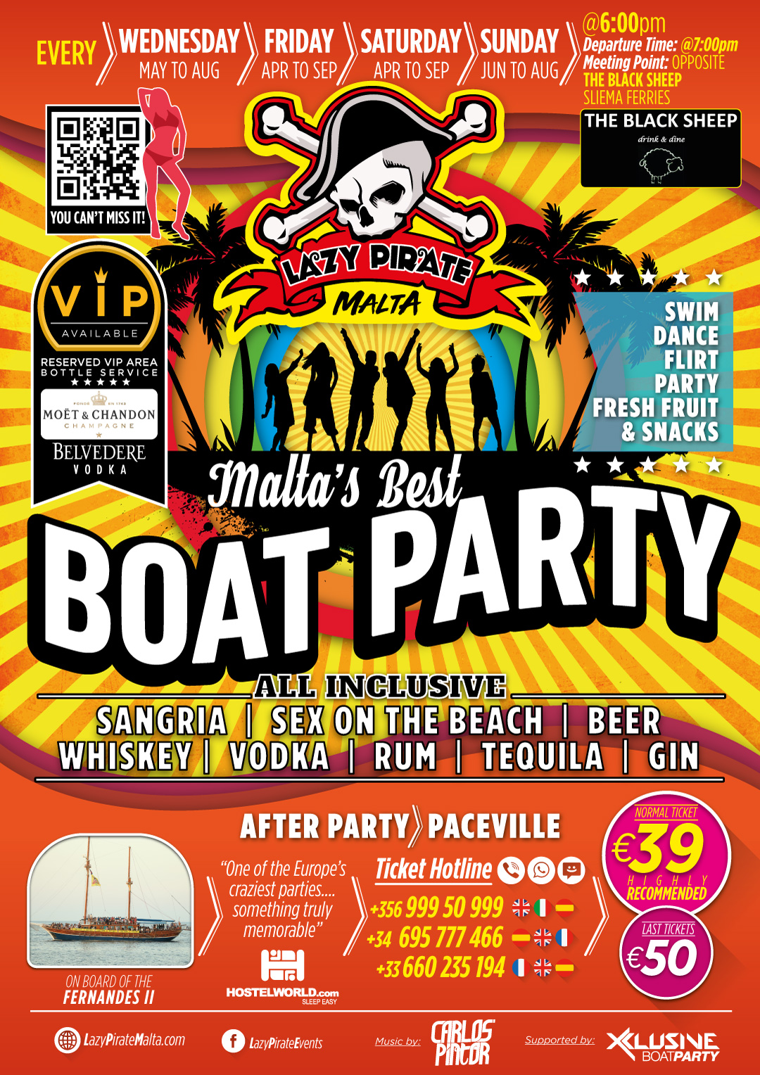 Lazy Pirate Boat Party Malta 2020 flyer