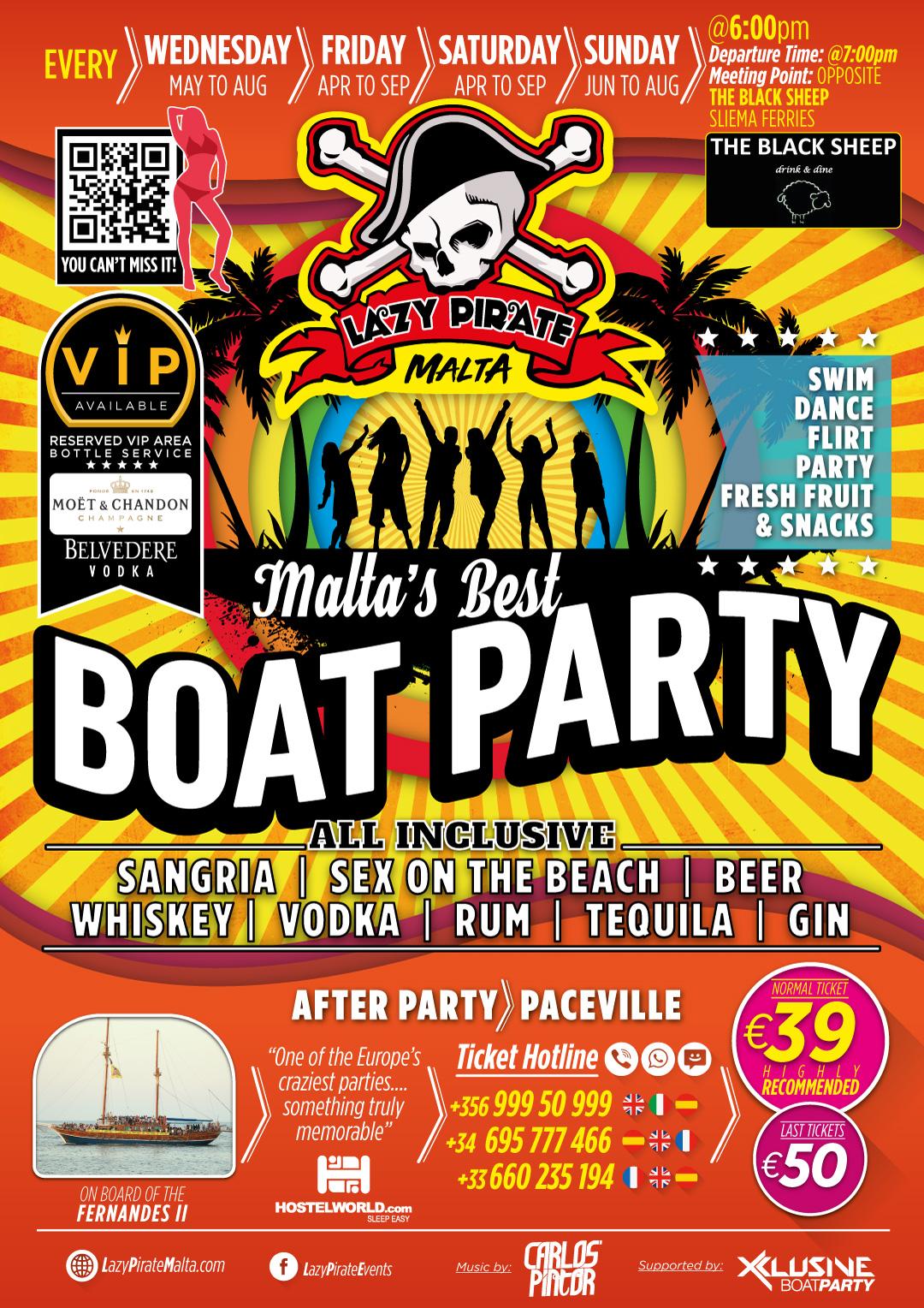 Lazy Pirate Boat Party Malta 2020