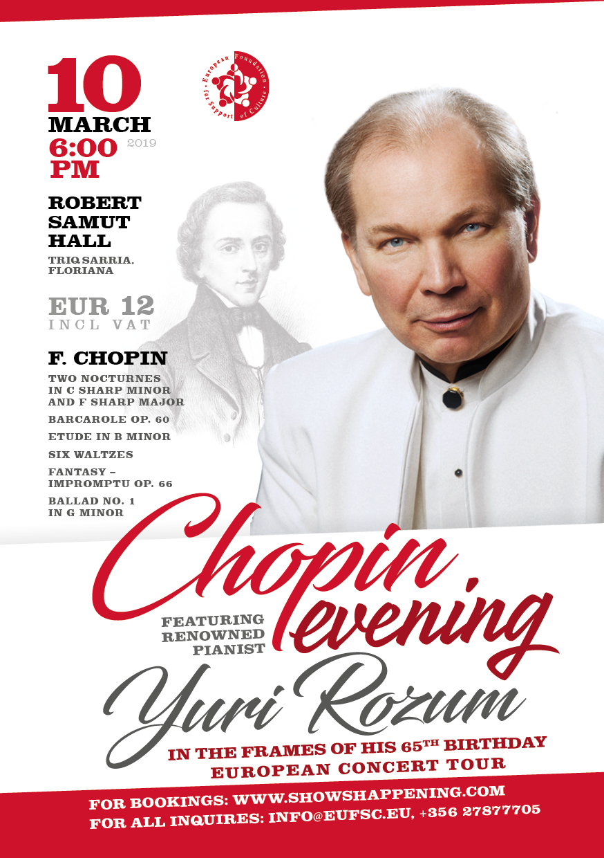 Chopin evening featuring renowned pianist Yuri Rozum flyer