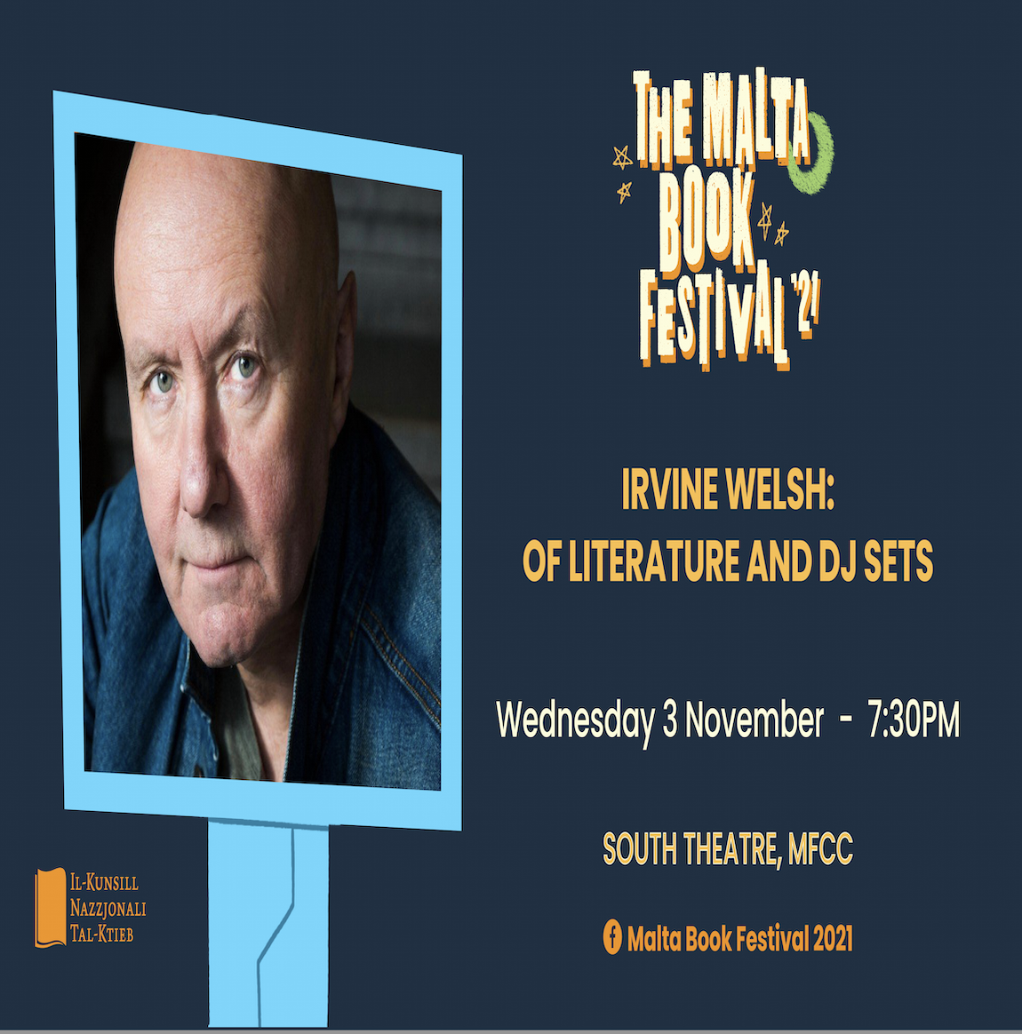 The Malta Book Festival 2021: Irvine Welsh: Of Literature and DJ Sets - 03/11/2021 poster
