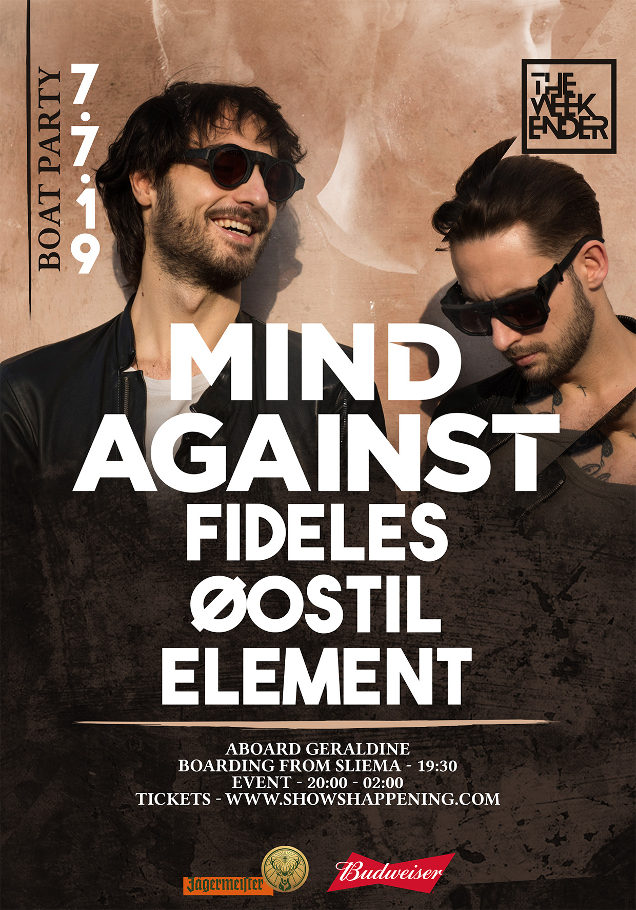 The Weekender Boat Party with Mind Against & Fideles flyer