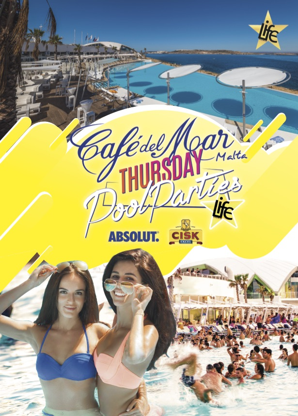 "Café del Mar ""Thursday Pool Parties"" by Life Events flyer"
