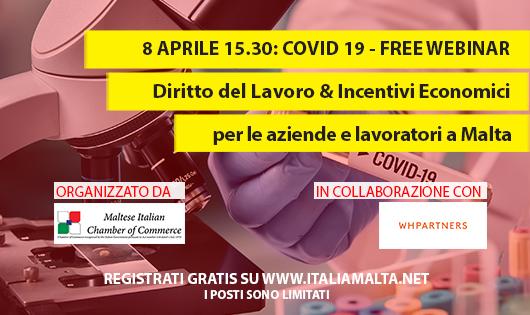 COVID-19 Webinar gratuito: Diritto del Lavoro & Incentivi Economici per le aziende e lavoratori a Malta flyer