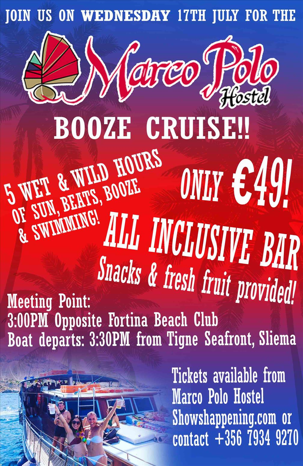 Marco Polo Hostel Booze Cruise flyer