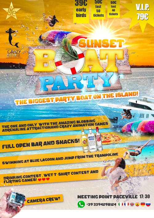 Sunset Boat Party flyer