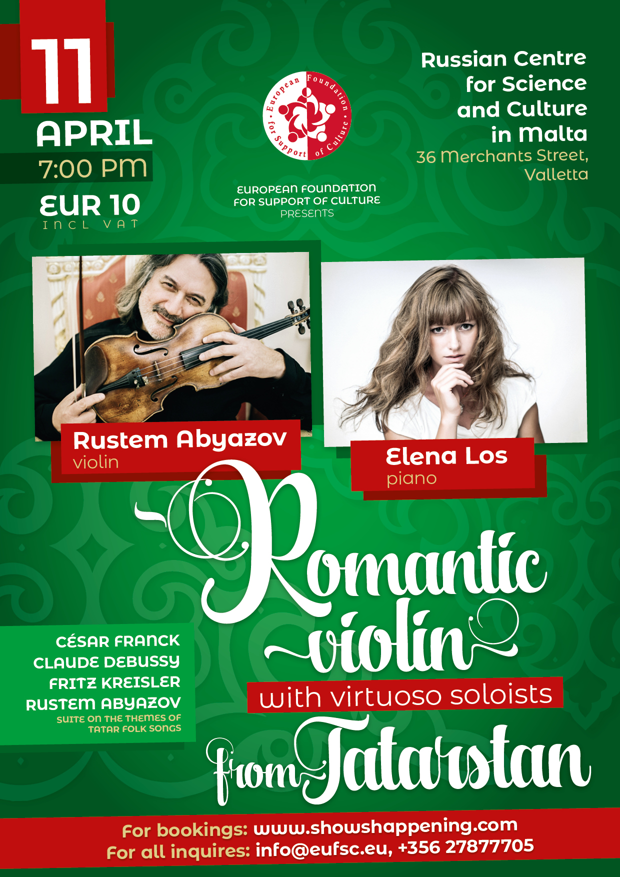 """""""Romantic violin"""" with virtuoso soloists from Tatarstan flyer"""