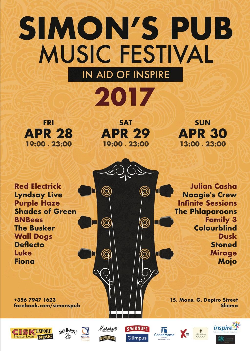 Simon's Pub Music Festival 2017 in aid of Inspire