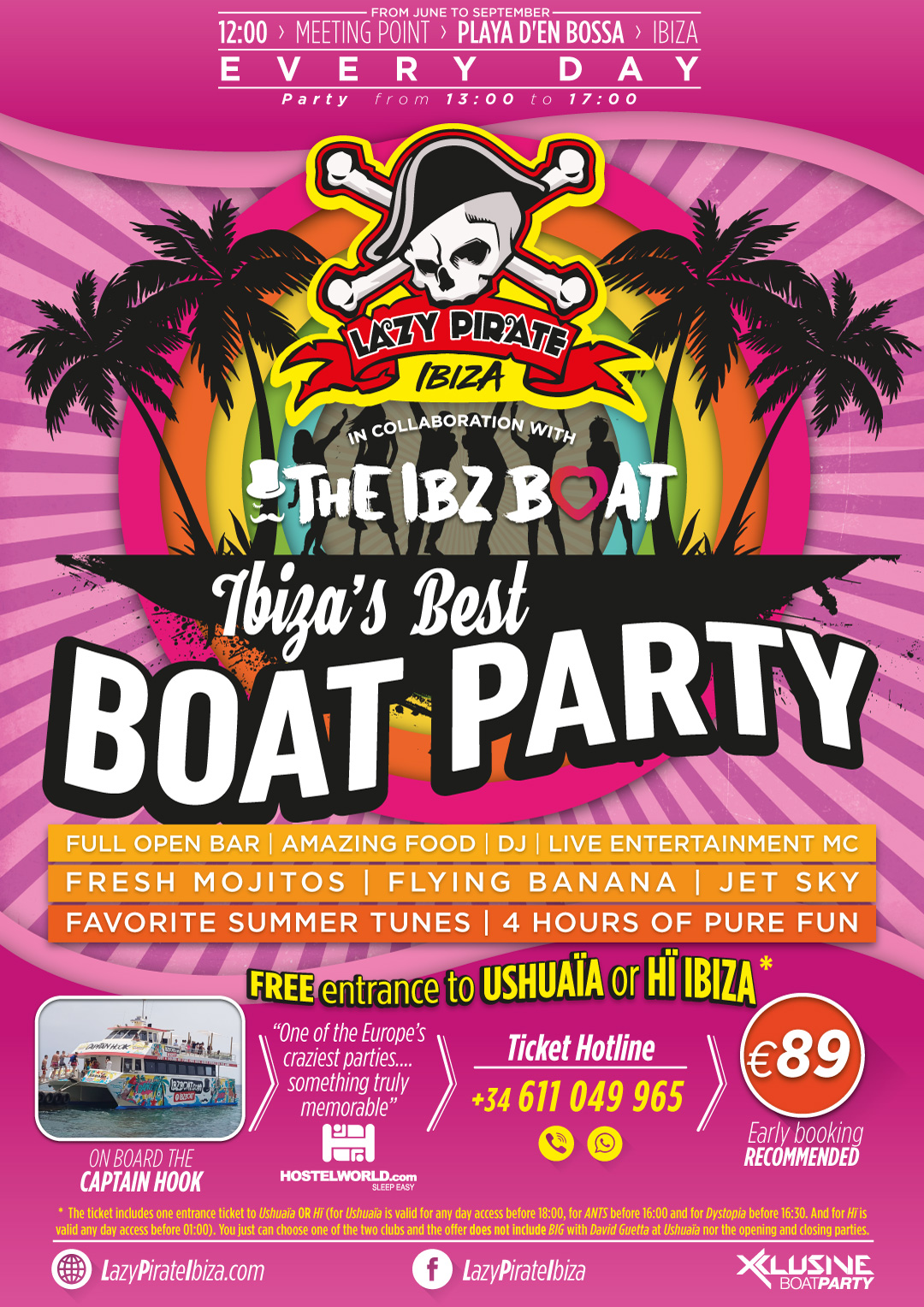 LAZY PIRATE BOAT PARTY IBIZA flyer