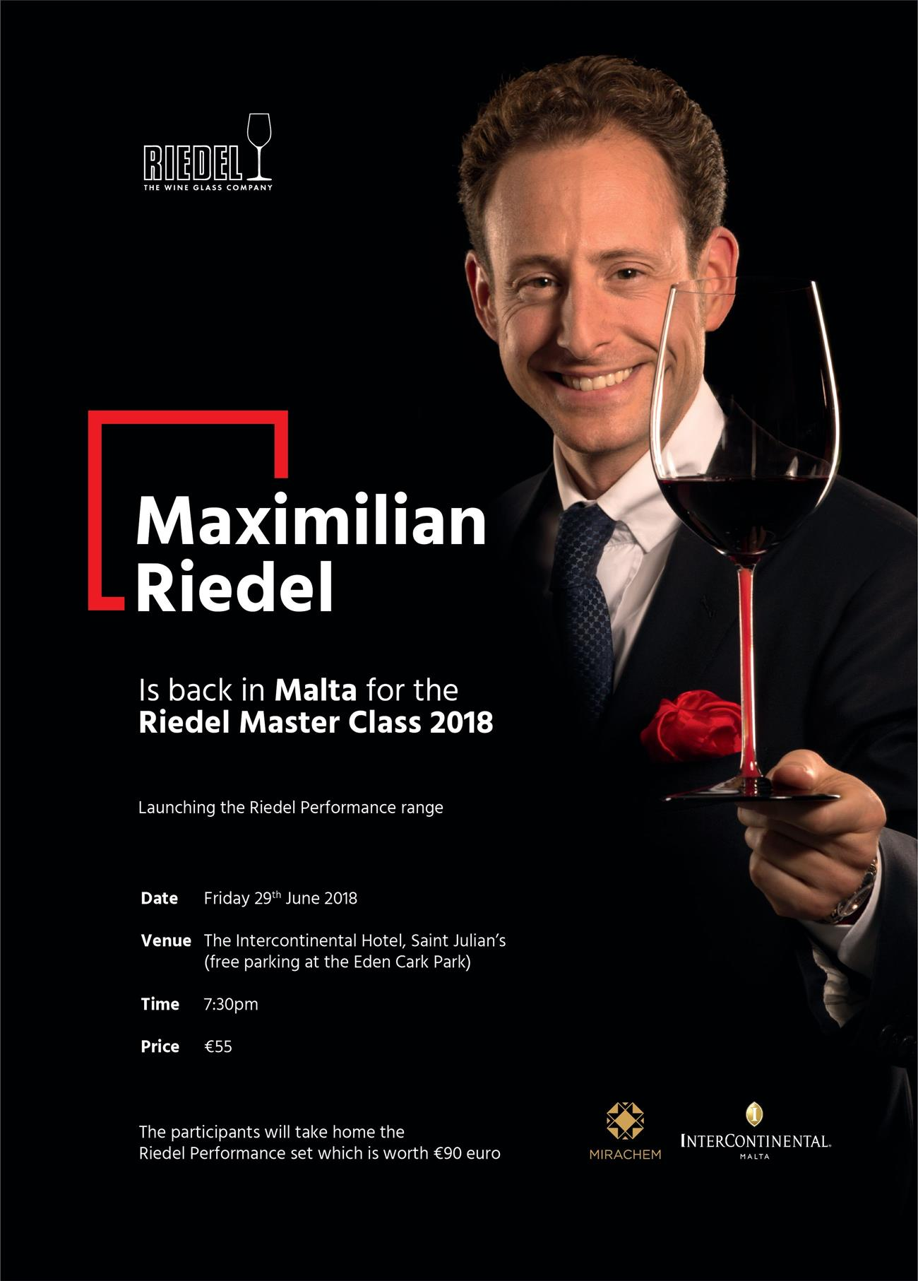 The Riedel Masterclass 2018 – Featuring Maximilian Riedel flyer