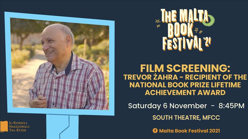 The Malta Book Festival 2021: Film Screening: Trevor Żahra - Recipient of the National Book Prize Lifetime Achievement Award poster