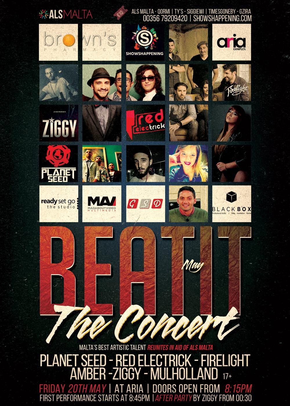 BEAT IT MAY ALS - The Concert flyer