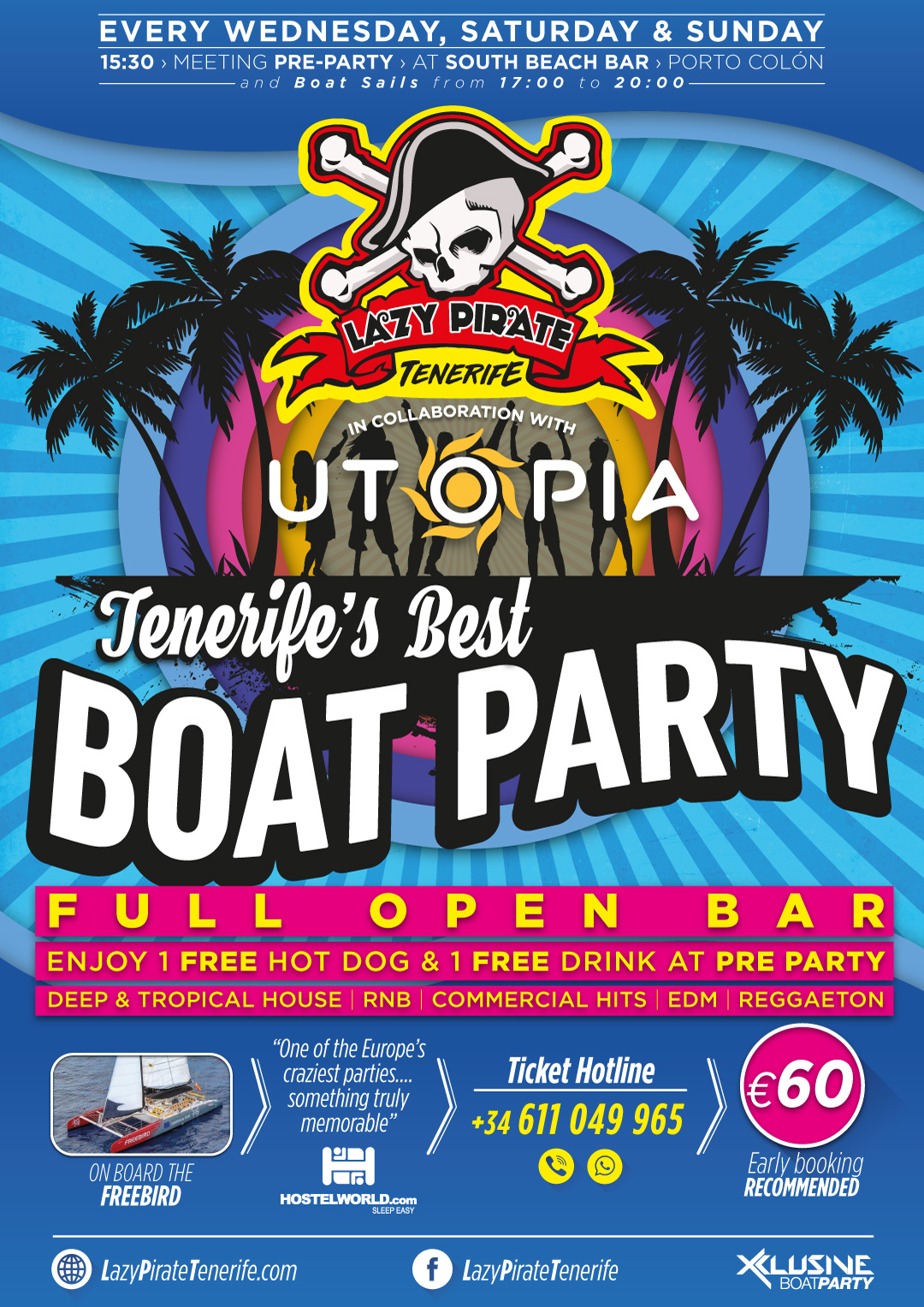 Lazy Pirate Boat Party Tenerife flyer