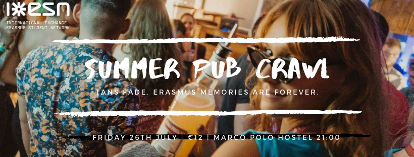 The ESN Summer Pub Crawl flyer