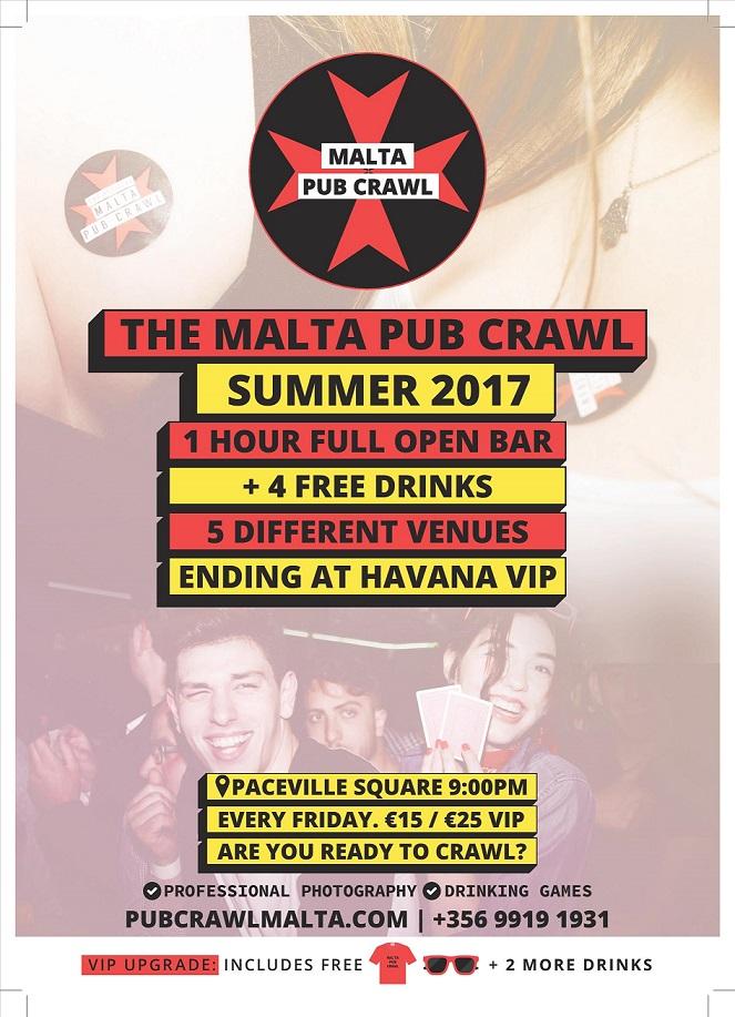Malta Pub Crawl flyer