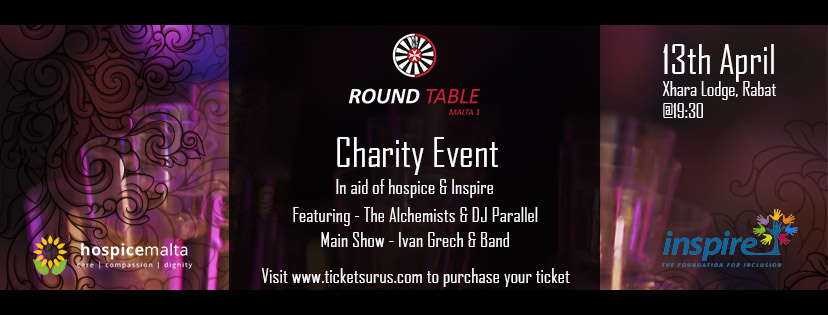 RoundTable Malta 1 Charity Live Event flyer