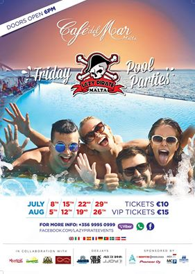 Lazy Pirate Pool Party @ Cafe del Mar Malta 2016 flyer