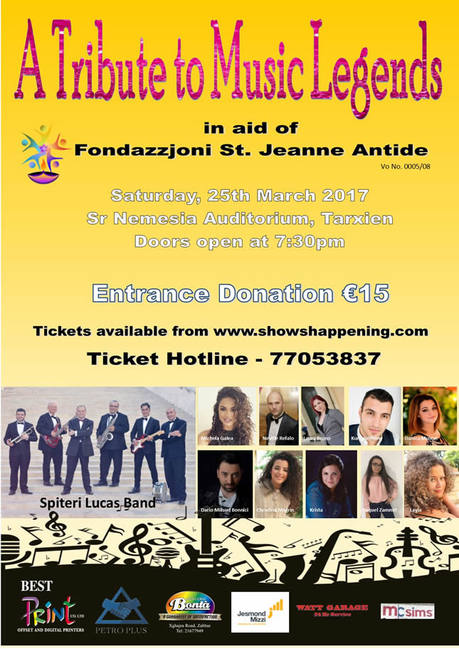 Fundraising Concert - A Tribute to Music Legends by Spiteri Lucas Band flyer