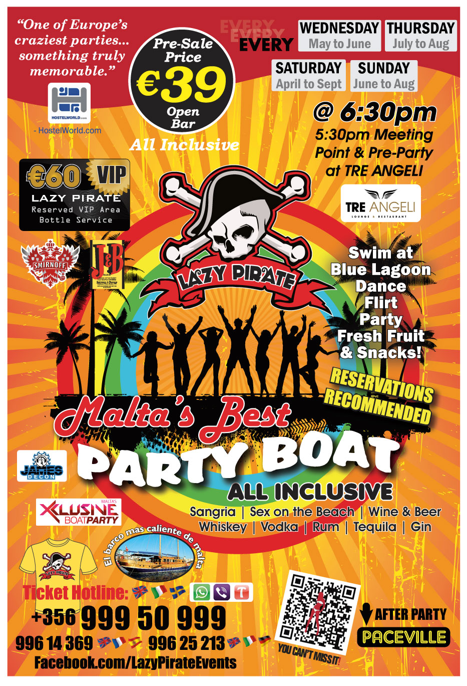 Lazy Pirate Party Boat 2016 flyer