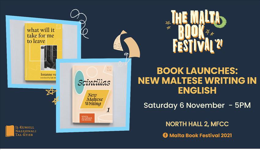 The Malta Book Festival 2021: Book Launches: New Maltese Writing in English (Praspar Press) poster