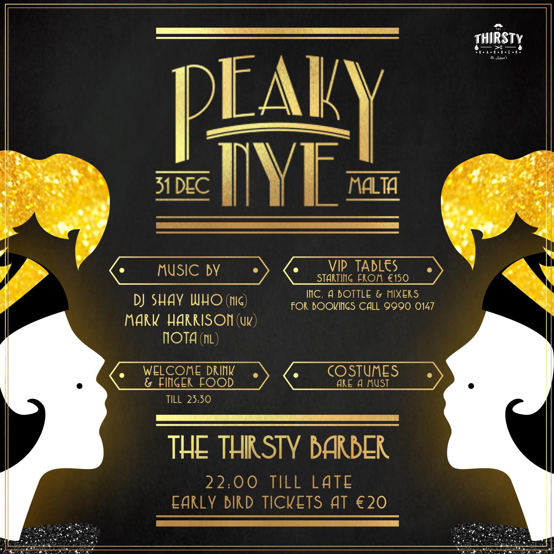 The Peaky NYE flyer