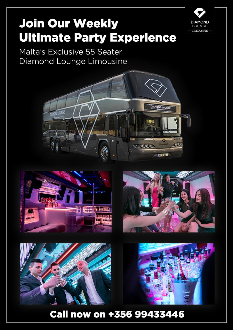Diamond Lounge Limousine: The Ultimate Party Experience In Malta flyer