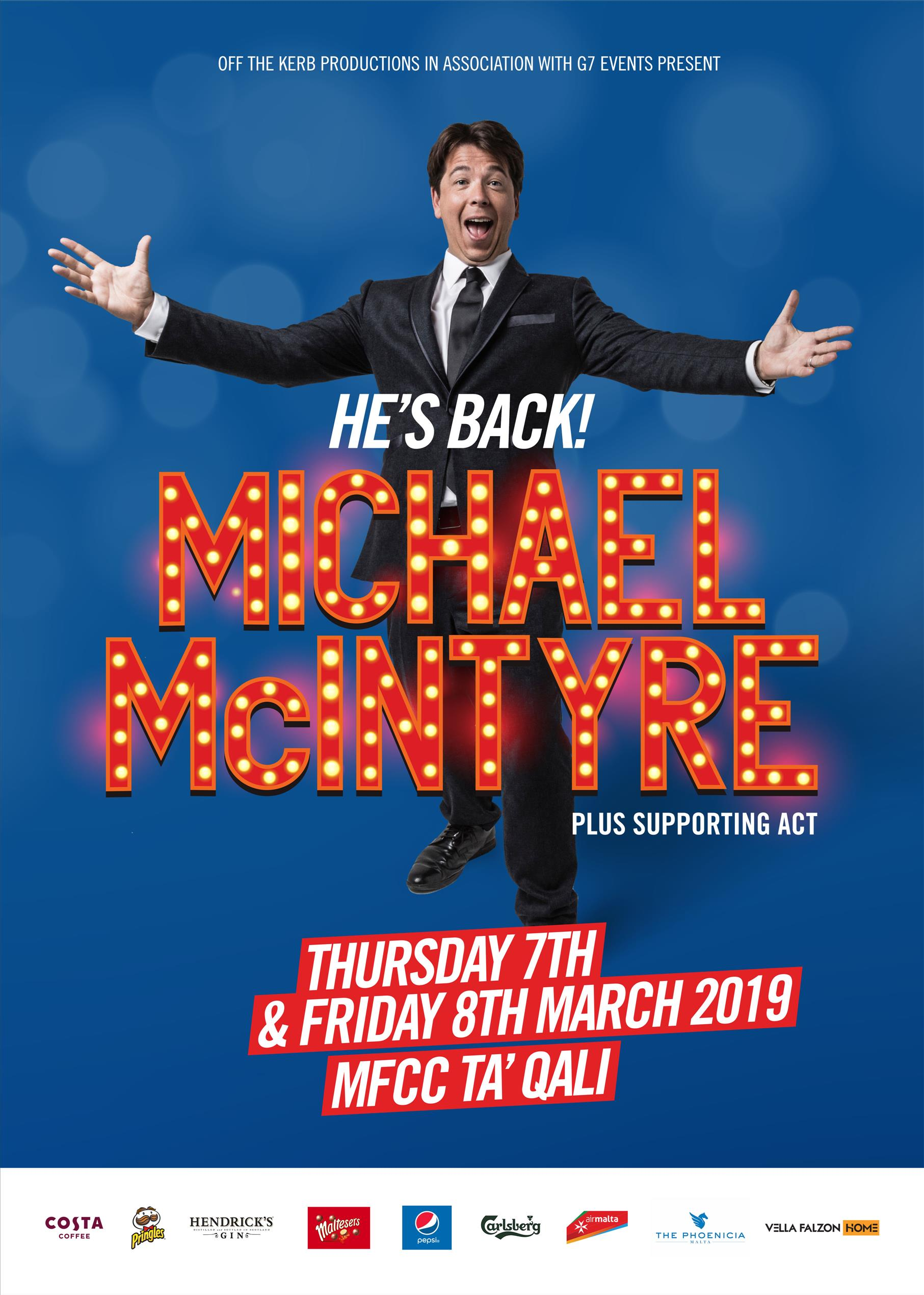 Michael McIntyre - The Big World Tour - Live in Malta 2019 flyer