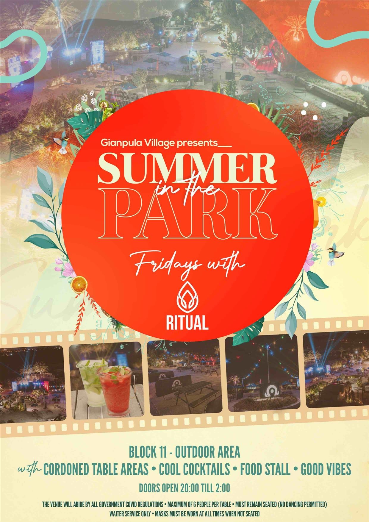 FRIDAYS – Summer in the Park poster
