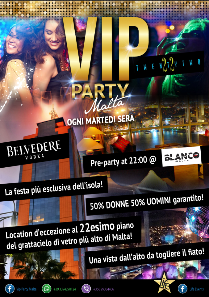 V.I.P. PARTY MALTA flyer
