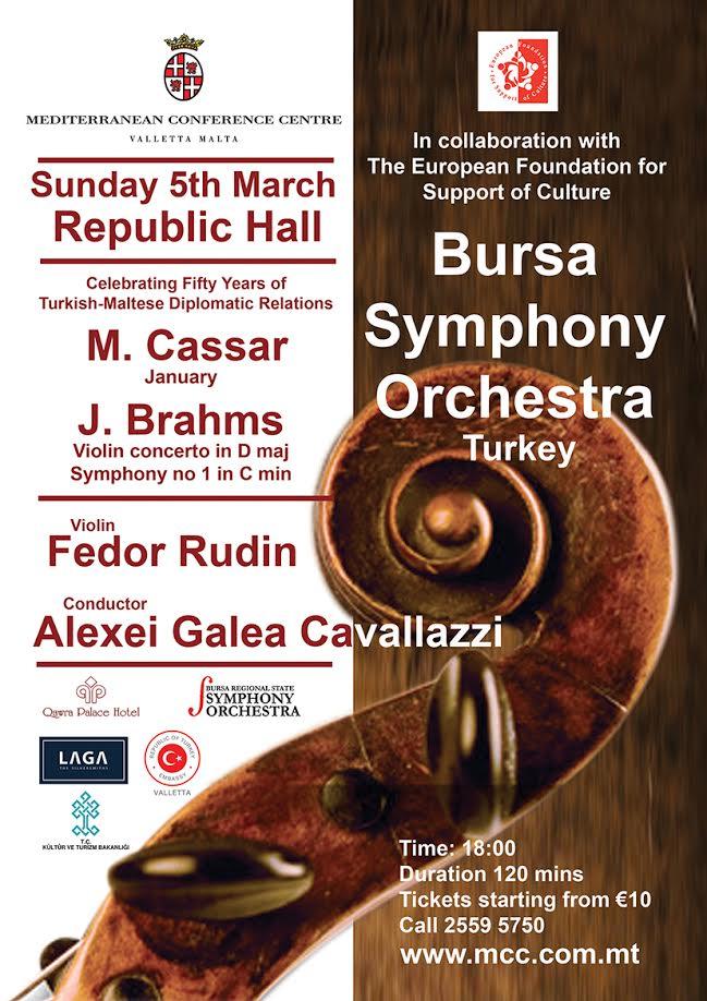 Bursa Symphony orchestra: Cassar and Brahms flyer