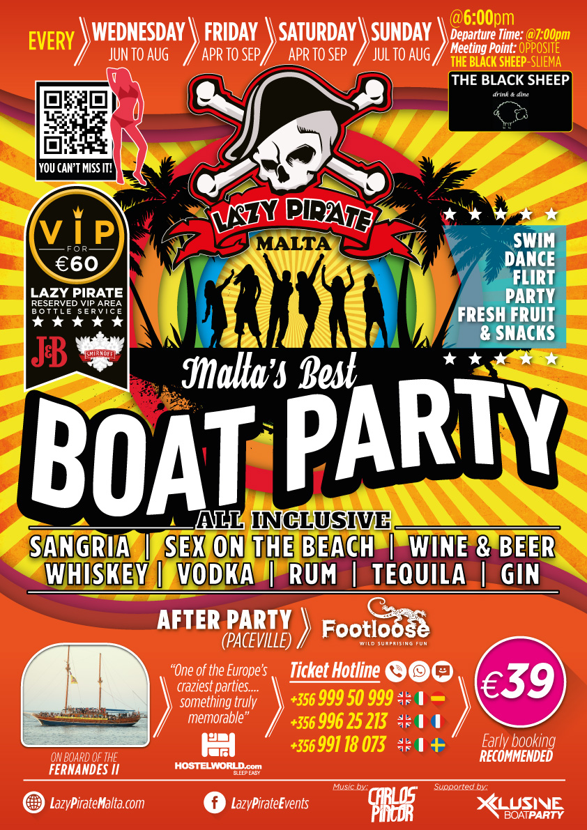 Lazy Pirate Boat Party Malta 2018 flyer