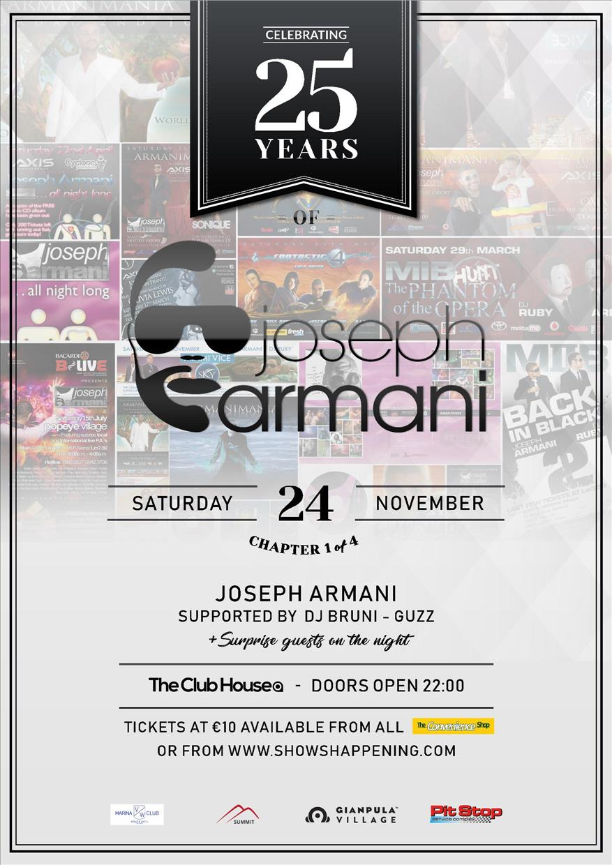 25 Years of Joseph Armani | Chapter 1 of 4 flyer
