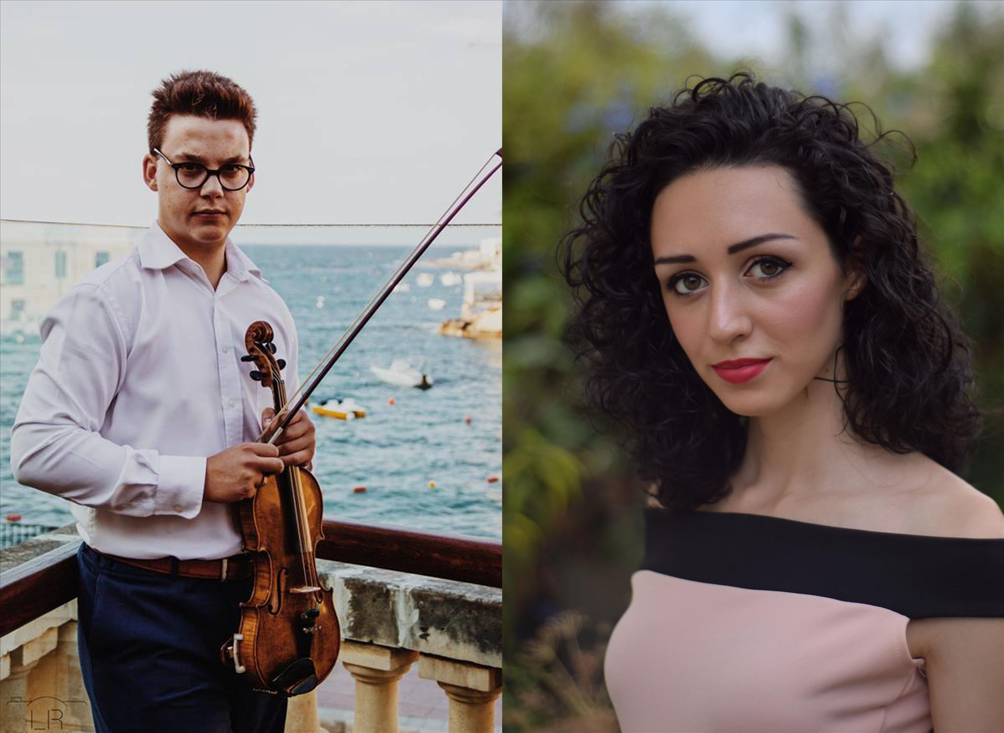 The Three Palaces Festival-Emerging Artists Concert- Ian Ellul (Violinist) Michaela Agius (Soprano) flyer
